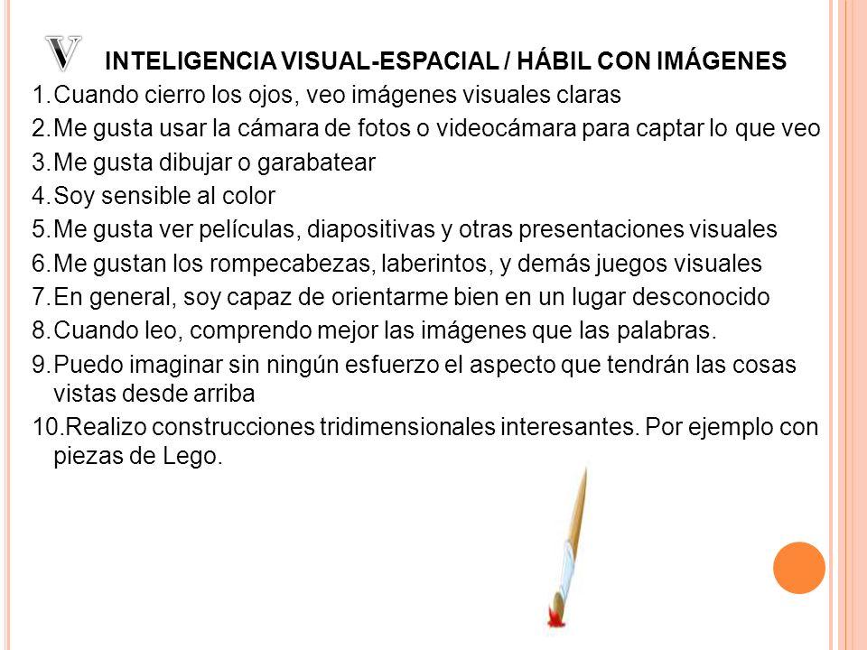 V INTELIGENCIA VISUAL-ESPACIAL / HÁBIL CON IMÁGENES