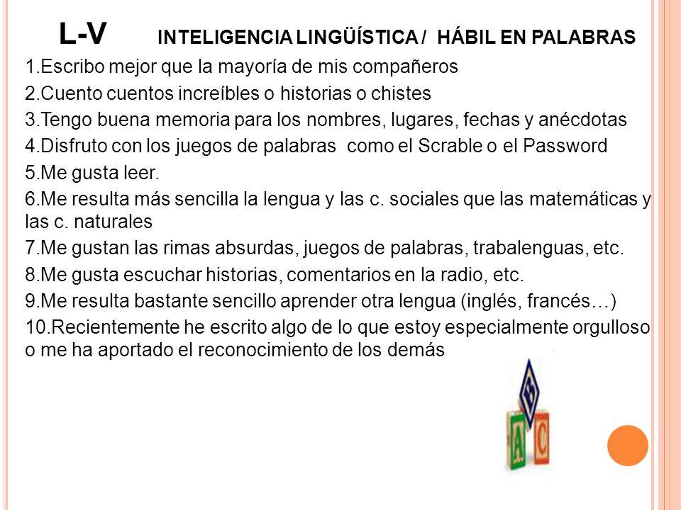 L-V INTELIGENCIA LINGÜÍSTICA / HÁBIL EN PALABRAS