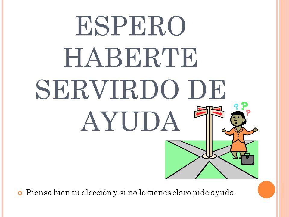 ESPERO HABERTE SERVIRDO DE AYUDA