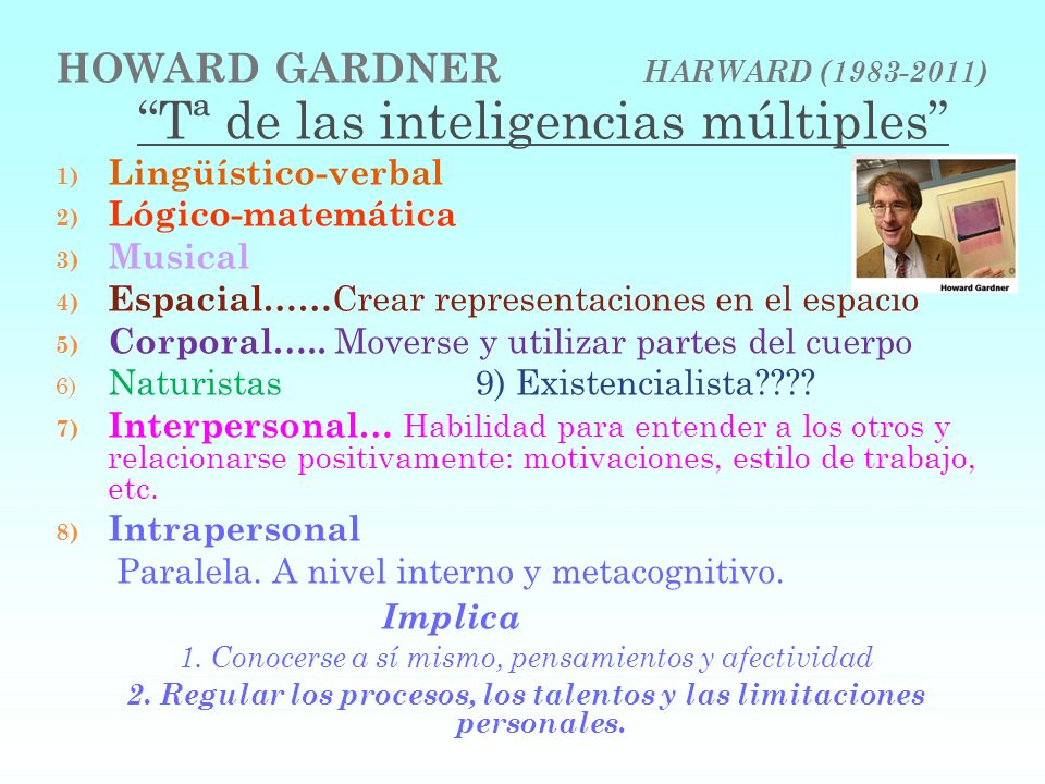 HOWARD GARDNER HARWARD (1983-2011) Tª de las inteligencias múltiples