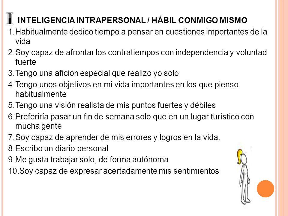 I INTELIGENCIA INTRAPERSONAL / HÁBIL CONMIGO MISMO