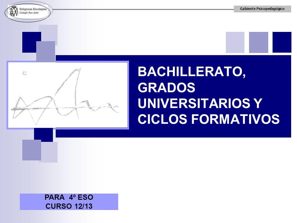 BACHILLERATO, GRADOS UNIVERSITARIOS Y CICLOS FORMATIVOS