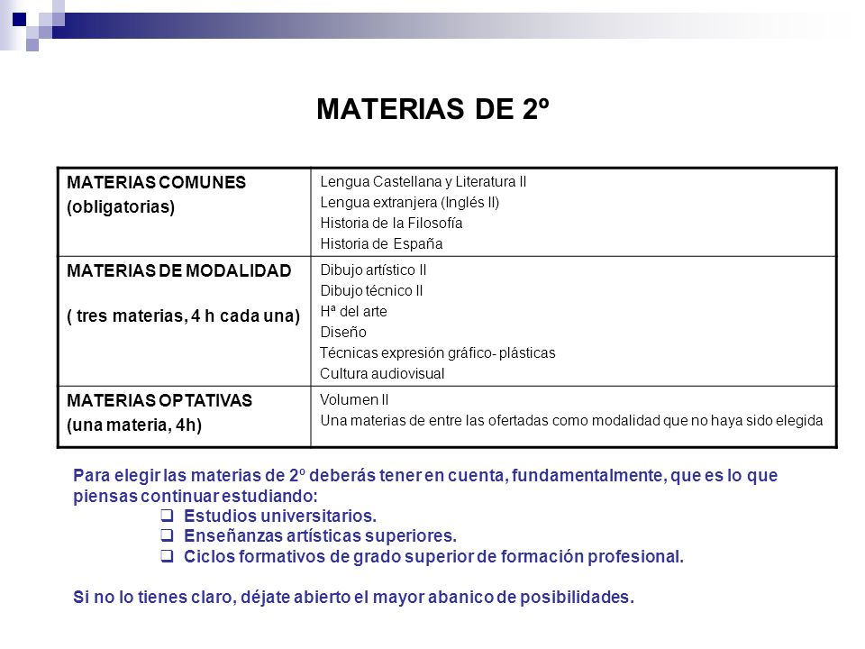MATERIAS DE 2º MATERIAS COMUNES (obligatorias) MATERIAS DE MODALIDAD