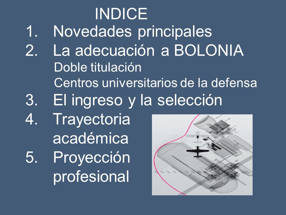 Novedades principales La adecuación a BOLONIA