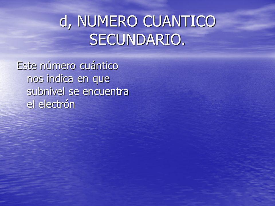 d, NUMERO CUANTICO SECUNDARIO.