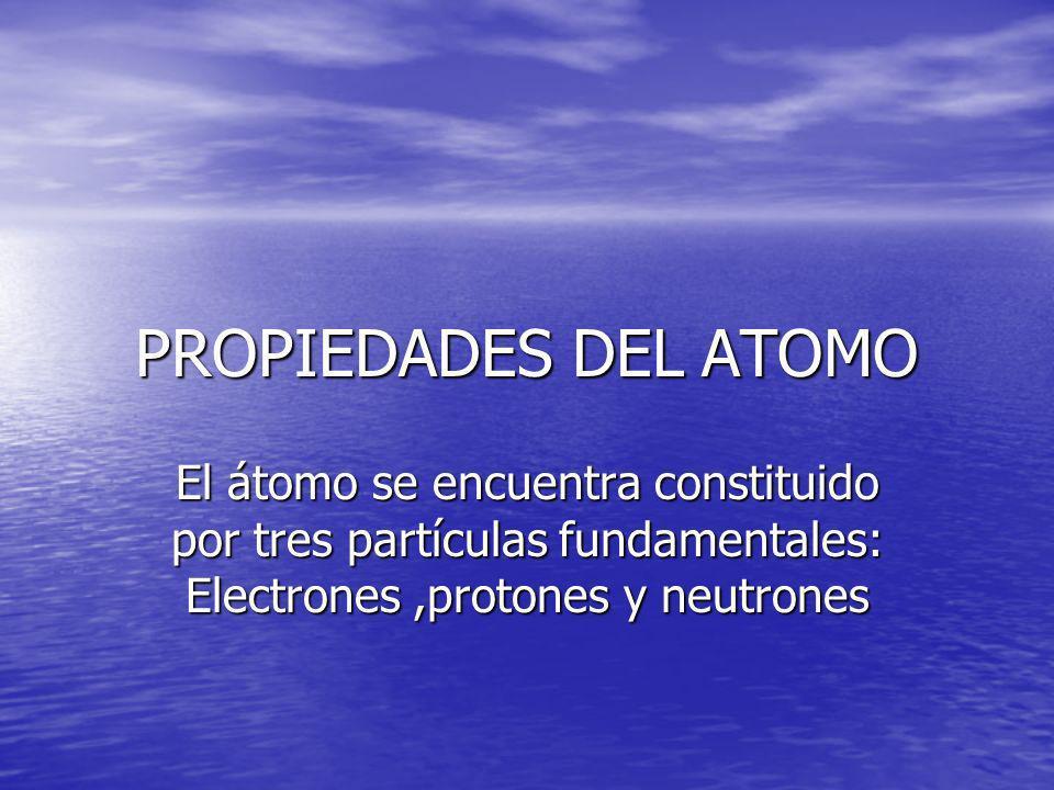 PROPIEDADES DEL ATOMO El átomo se encuentra constituido por tres partículas fundamentales: Electrones ,protones y neutrones.