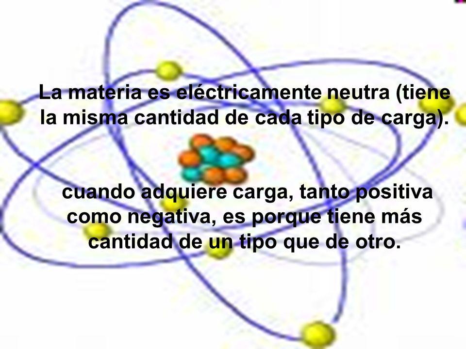 La materia es eléctricamente neutra (tiene la misma cantidad de cada tipo de carga).
