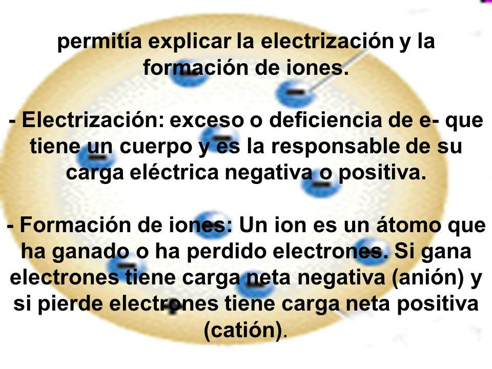 permitía explicar la electrización y la formación de iones
