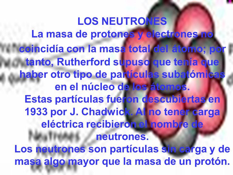 LOS NEUTRONES La masa de protones y electrones no coincidía con la masa total del átomo; por tanto, Rutherford supuso que tenía que haber otro tipo de partículas subatómicas en el núcleo de los átomos.