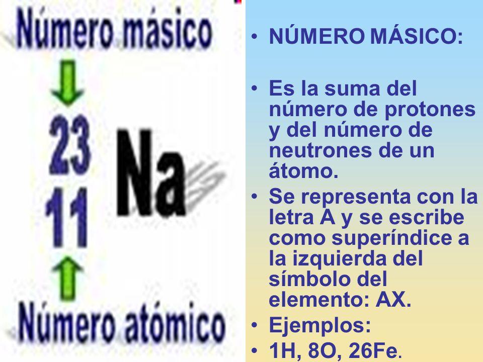 NÚMERO MÁSICO:Es la suma del número de protones y del número de neutrones de un átomo.