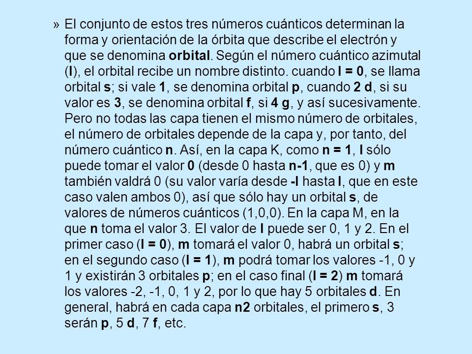 El conjunto de estos tres números cuánticos determinan la forma y orientación de la órbita que describe el electrón y que se denomina orbital.