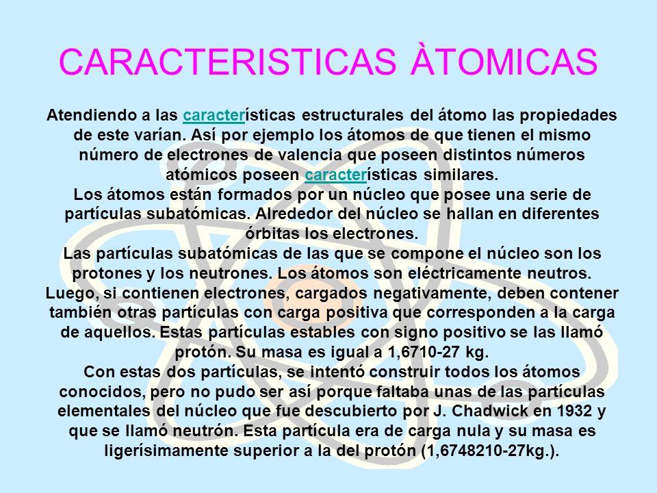 CARACTERISTICAS ÀTOMICAS