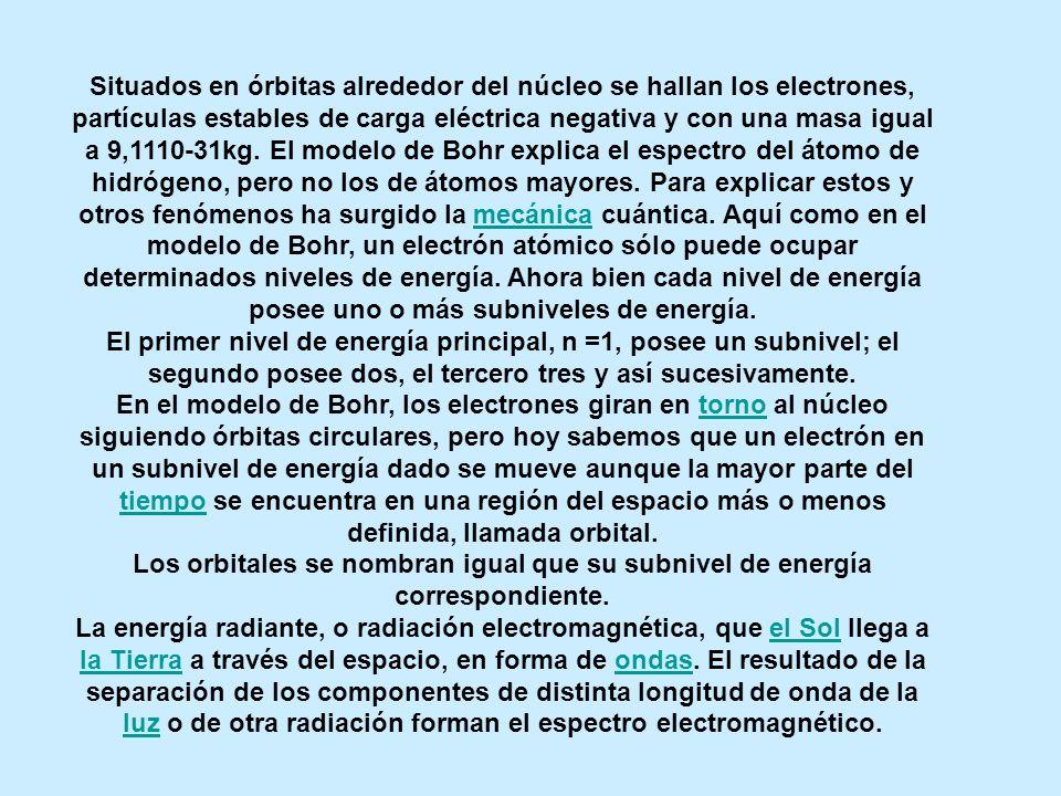 Situados en órbitas alrededor del núcleo se hallan los electrones, partículas estables de carga eléctrica negativa y con una masa igual a 9,1110-31kg. El modelo de Bohr explica el espectro del átomo de hidrógeno, pero no los de átomos mayores. Para explicar estos y otros fenómenos ha surgido la mecánica cuántica. Aquí como en el modelo de Bohr, un electrón atómico sólo puede ocupar determinados niveles de energía. Ahora bien cada nivel de energía posee uno o más subniveles de energía.