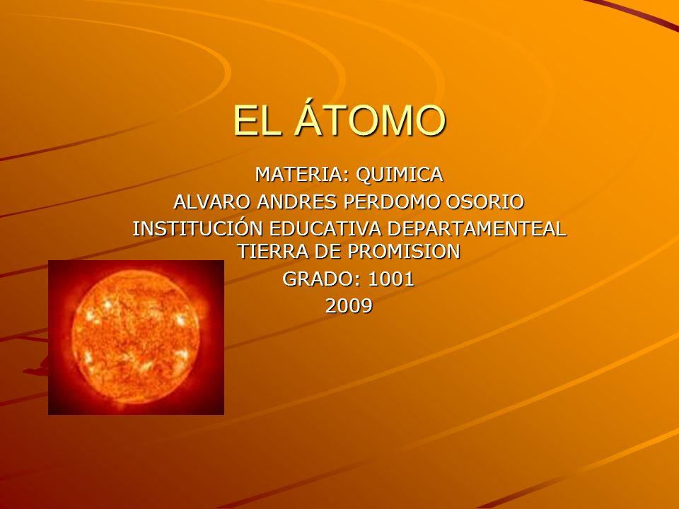 EL ÁTOMO MATERIA: QUIMICA ALVARO ANDRES PERDOMO OSORIO