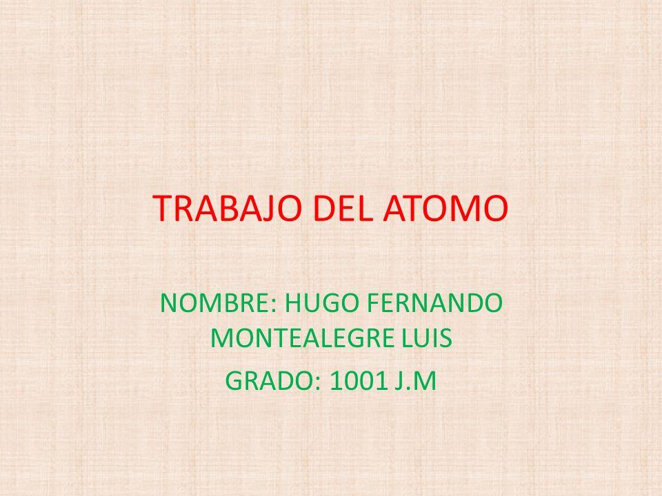 NOMBRE: HUGO FERNANDO MONTEALEGRE LUIS GRADO: 1001 J.M