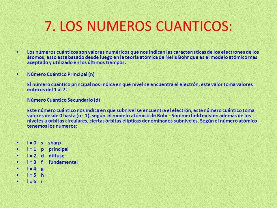 7. LOS NUMEROS CUANTICOS: