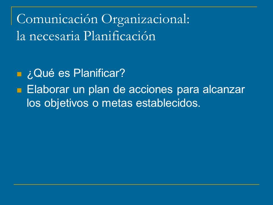 Comunicación Organizacional: la necesaria Planificación