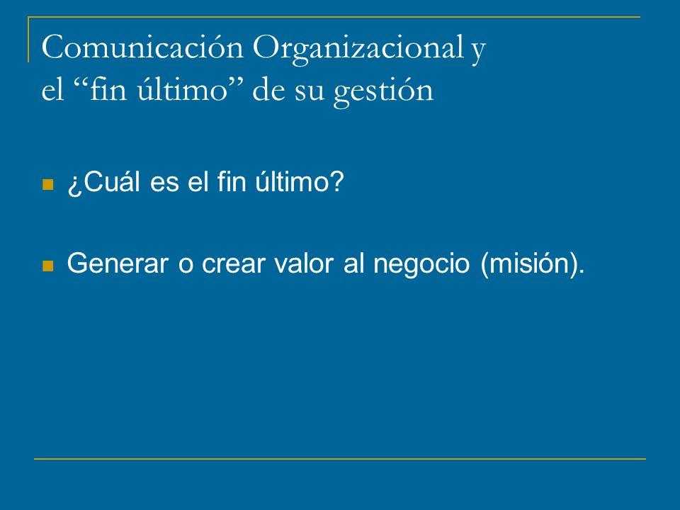 Comunicación Organizacional y el fin último de su gestión