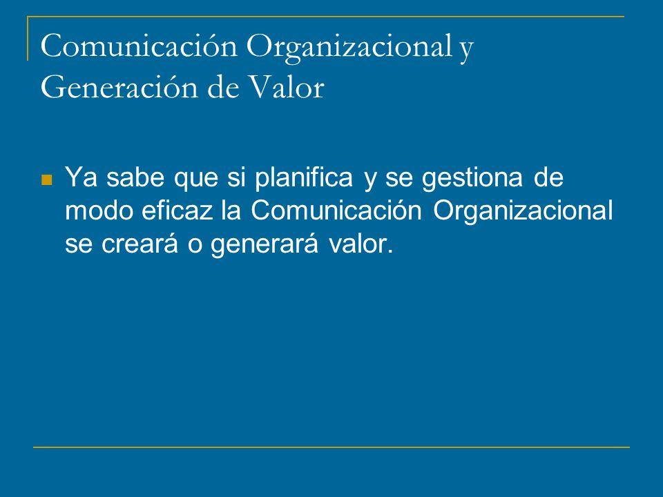 Comunicación Organizacional y Generación de Valor