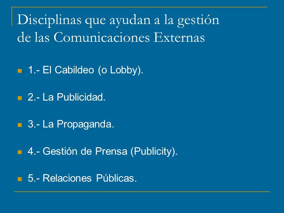 Disciplinas que ayudan a la gestión de las Comunicaciones Externas