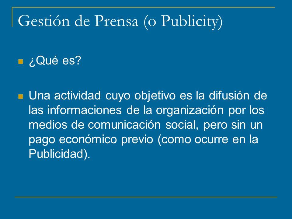 Gestión de Prensa (o Publicity)