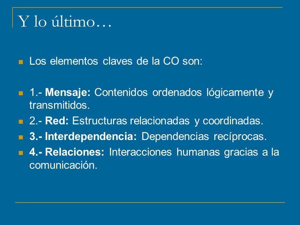 Y lo último… Los elementos claves de la CO son: