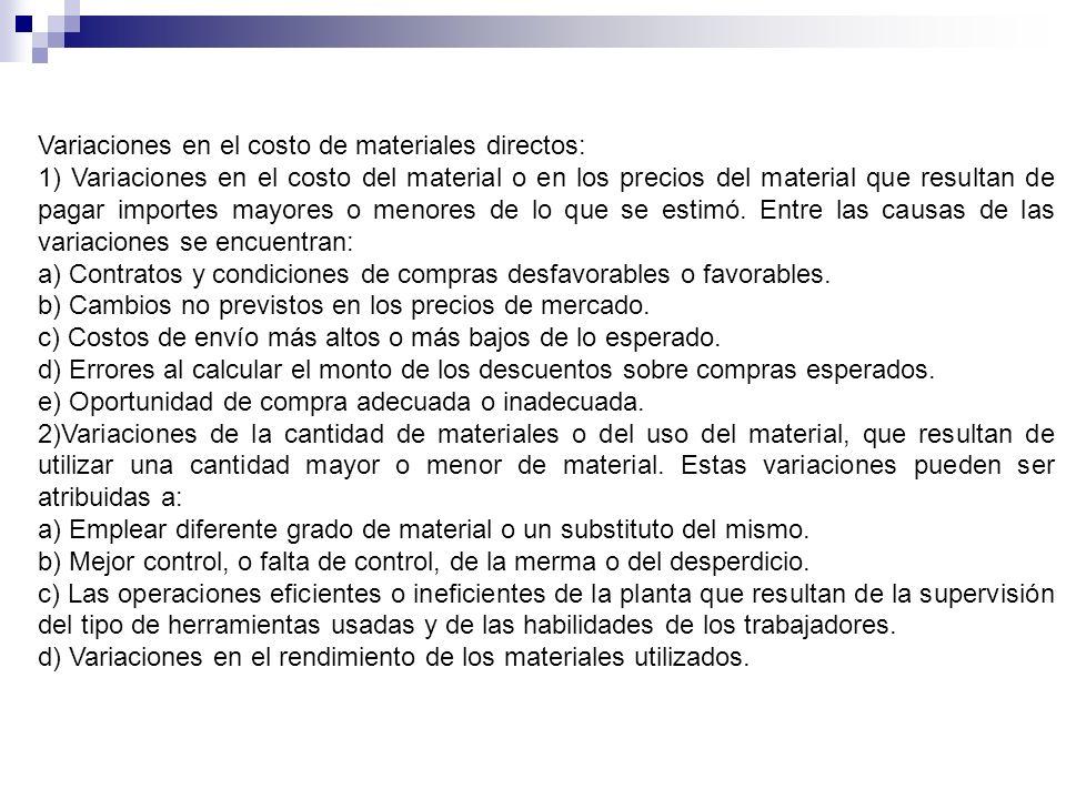 Variaciones en el costo de materiales directos: