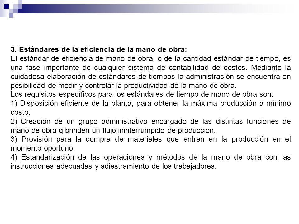 3. Estándares de la eficiencia de la mano de obra: