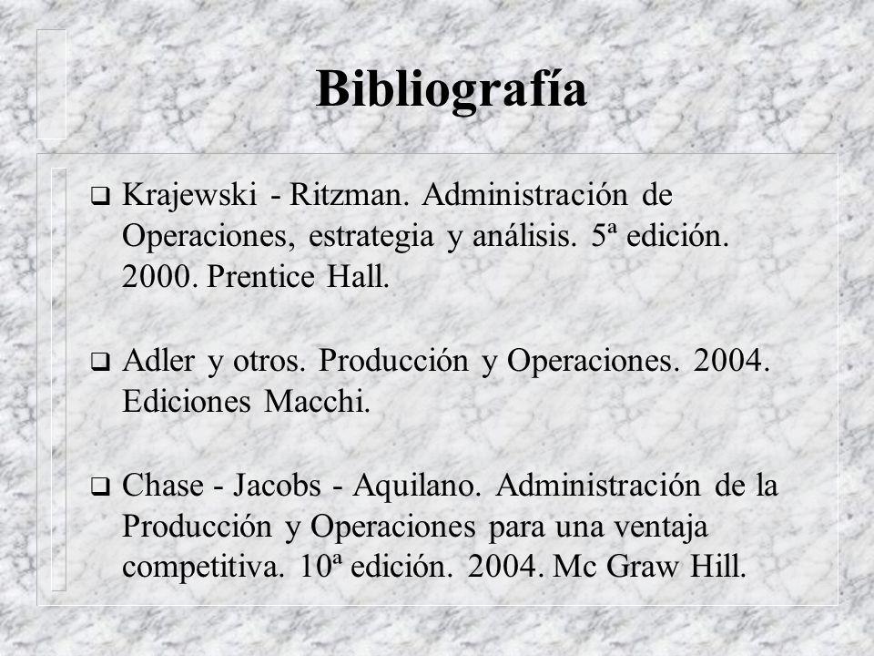 Bibliografía Krajewski - Ritzman. Administración de Operaciones, estrategia y análisis. 5ª edición. 2000. Prentice Hall.