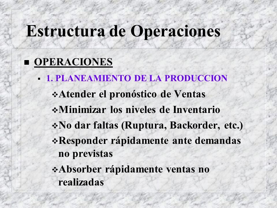 Estructura de Operaciones