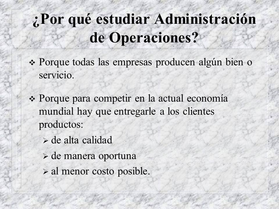 ¿Por qué estudiar Administración de Operaciones