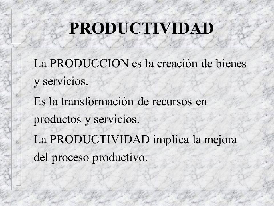 PRODUCTIVIDAD La PRODUCCION es la creación de bienes y servicios.
