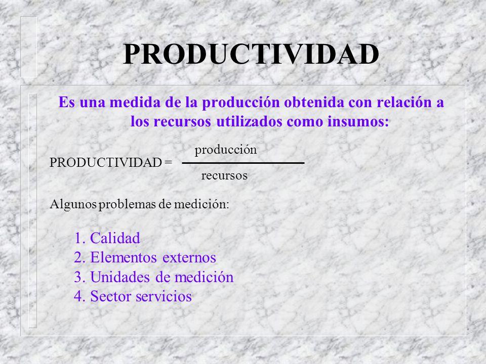 PRODUCTIVIDAD Es una medida de la producción obtenida con relación a los recursos utilizados como insumos: