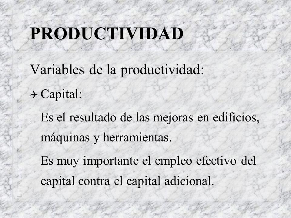 PRODUCTIVIDAD Variables de la productividad: Capital: