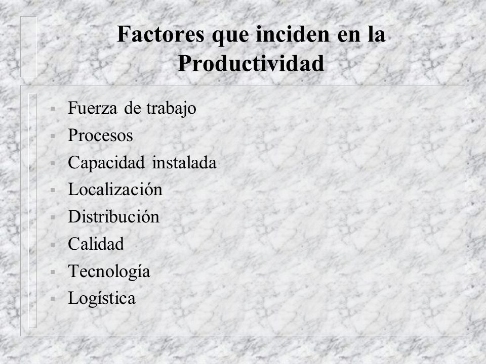 Factores que inciden en la Productividad