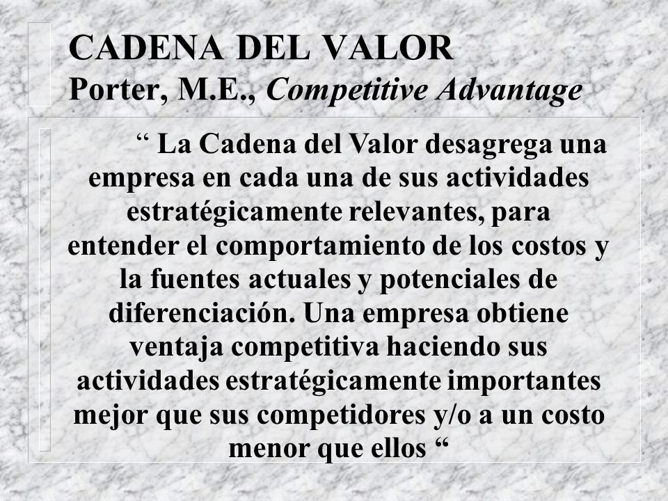 CADENA DEL VALOR Porter, M.E., Competitive Advantage