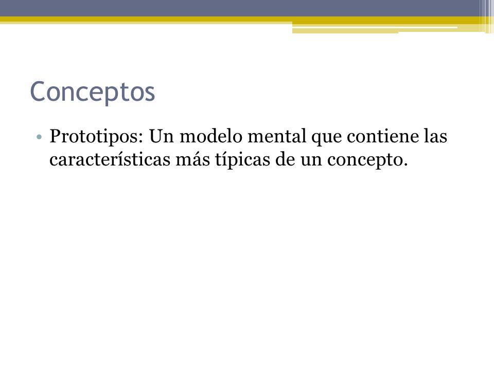 Conceptos Prototipos: Un modelo mental que contiene las características más típicas de un concepto.