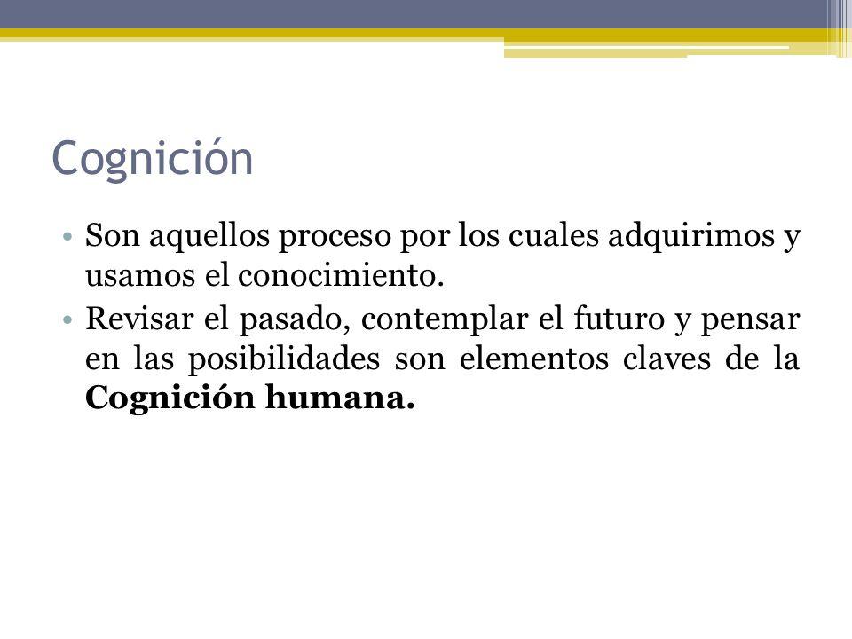Cognición Son aquellos proceso por los cuales adquirimos y usamos el conocimiento.