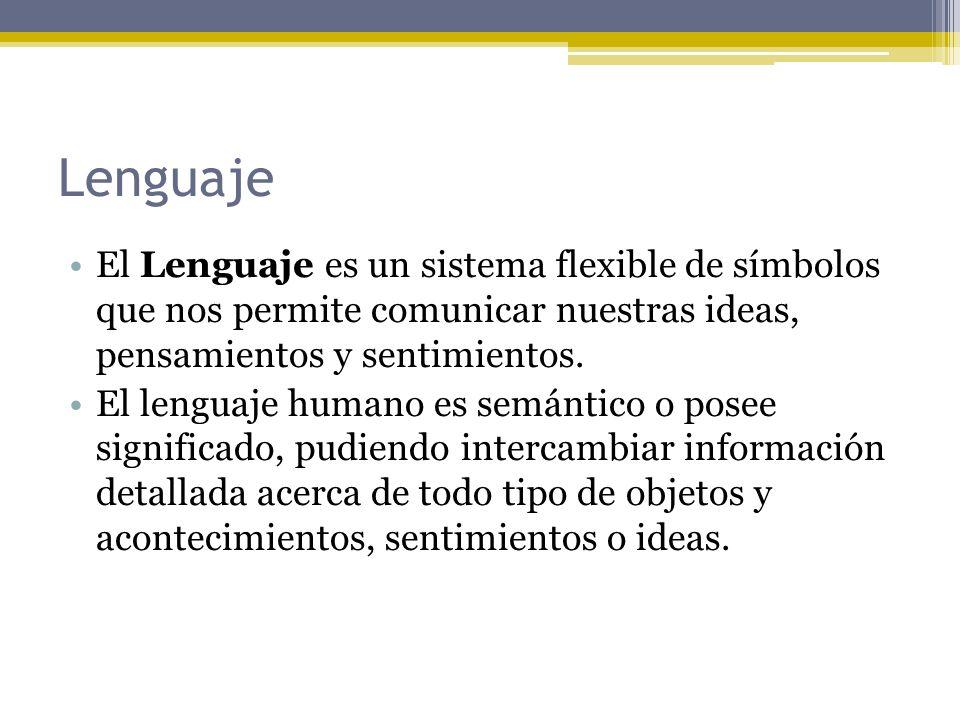 Lenguaje El Lenguaje es un sistema flexible de símbolos que nos permite comunicar nuestras ideas, pensamientos y sentimientos.
