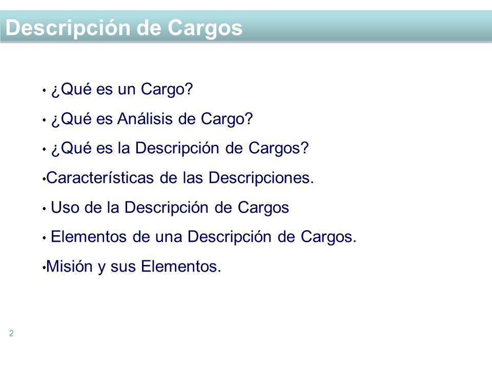 Descripción de Cargos ¿Qué es un Cargo ¿Qué es Análisis de Cargo