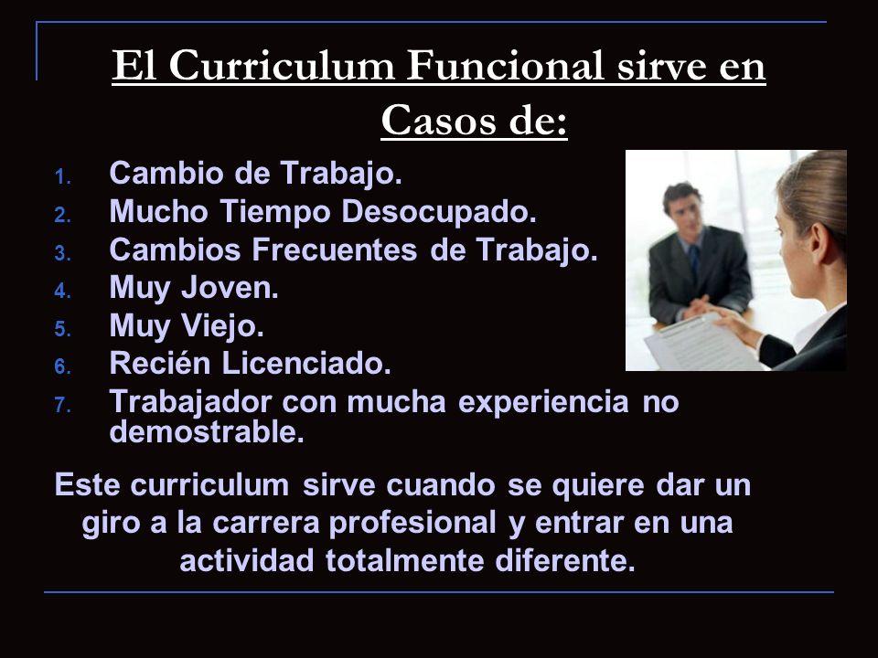 El Curriculum Funcional sirve en Casos de: