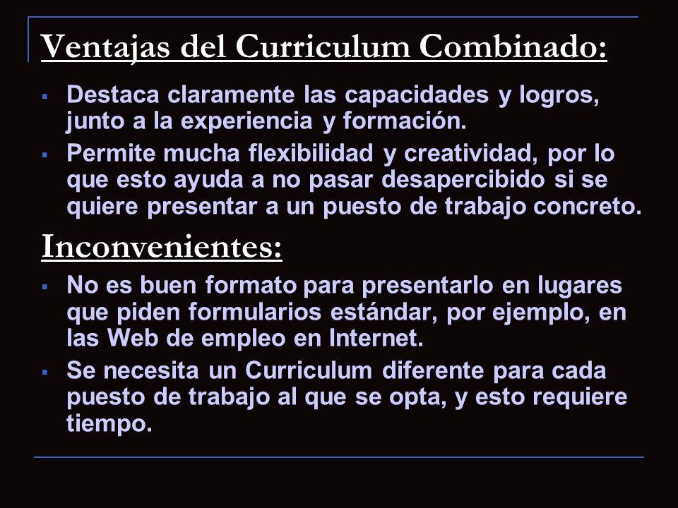 Ventajas del Curriculum Combinado: