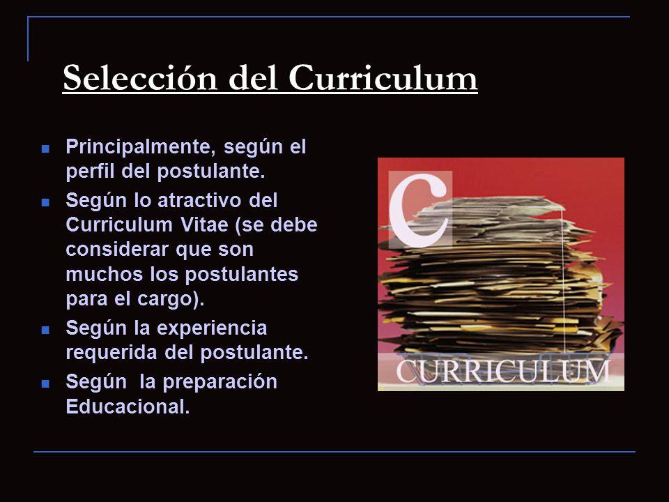 Selección del Curriculum