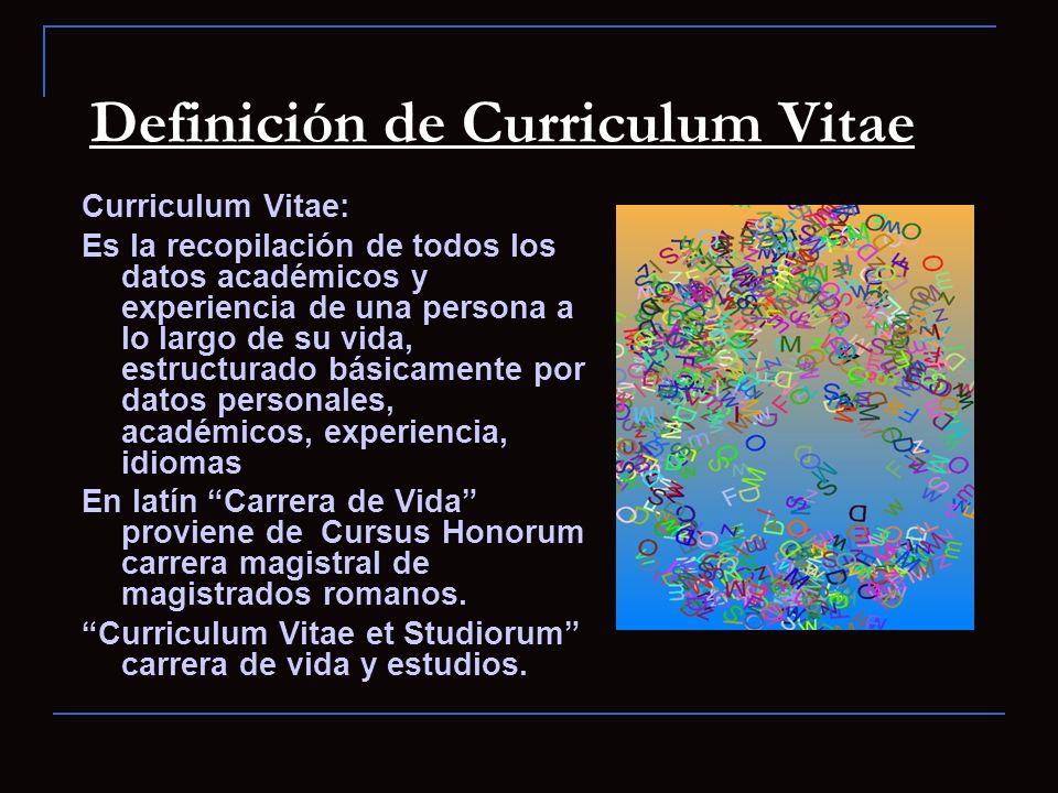 Definición de Curriculum Vitae
