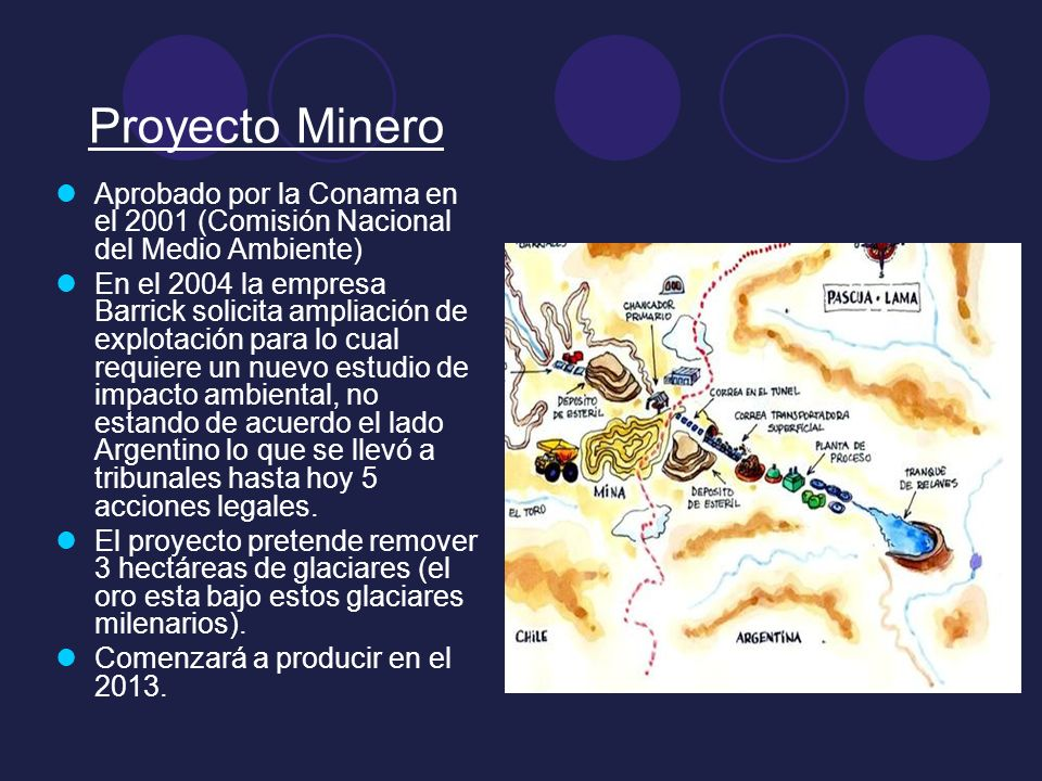 Proyecto MineroAprobado por la Conama en el 2001 (Comisión Nacional del Medio Ambiente)