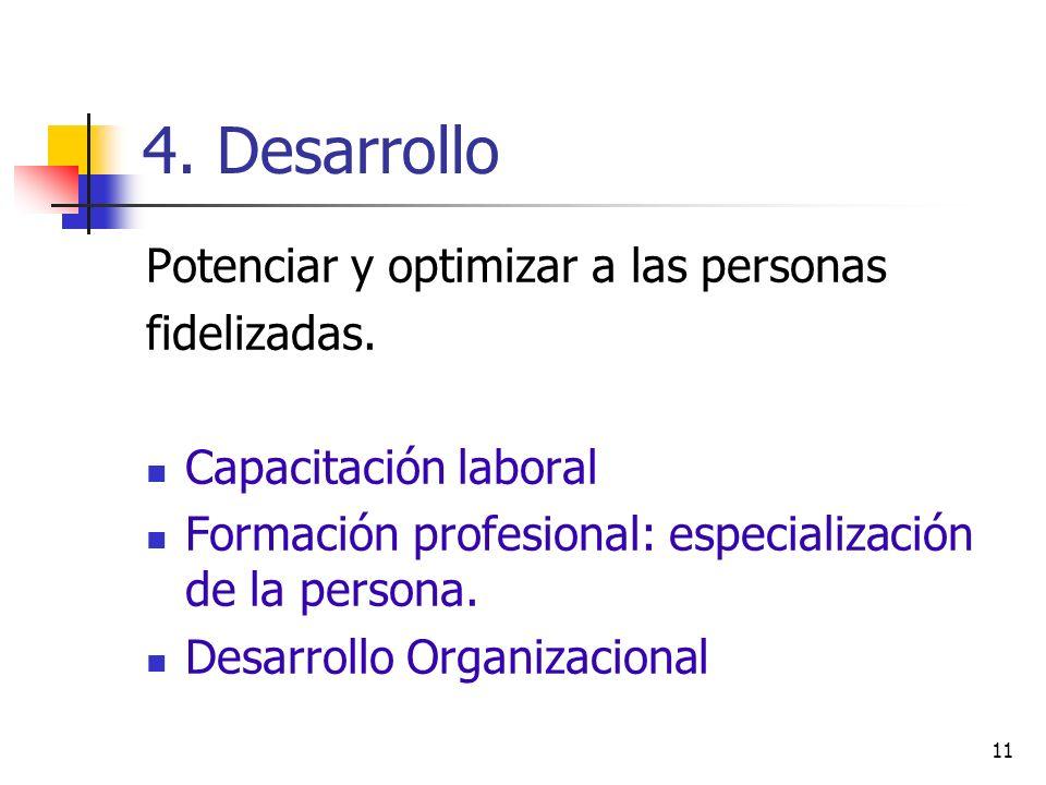 4. Desarrollo Potenciar y optimizar a las personas fidelizadas.
