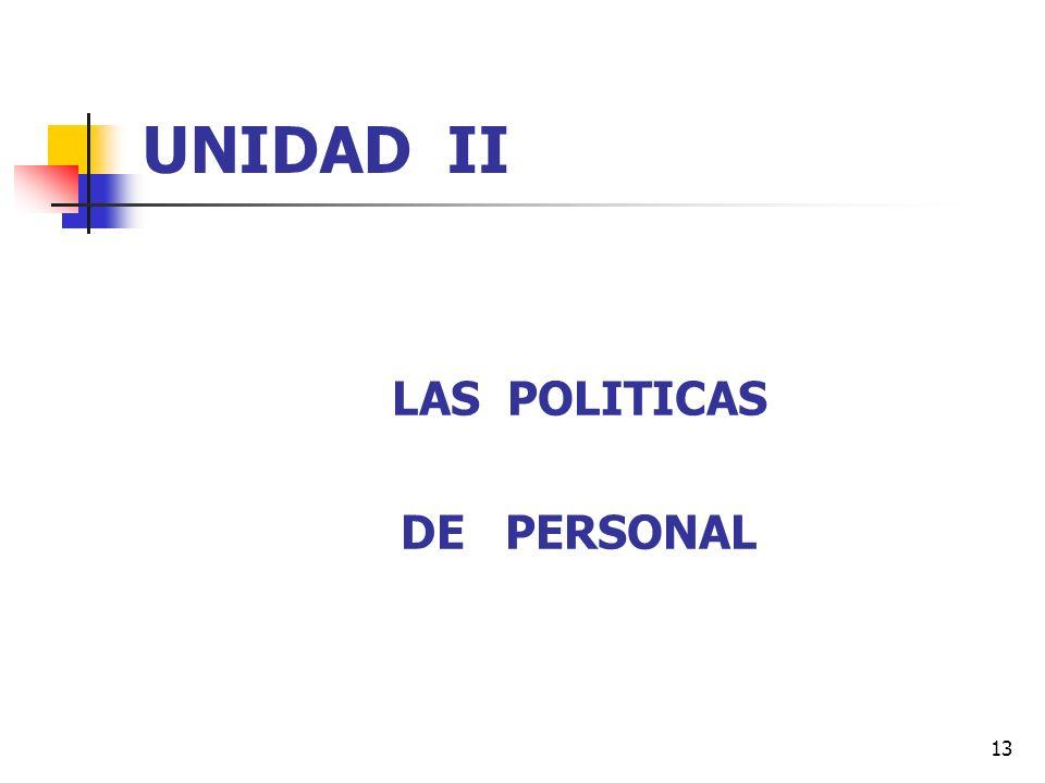 UNIDAD II LAS POLITICAS DE PERSONAL