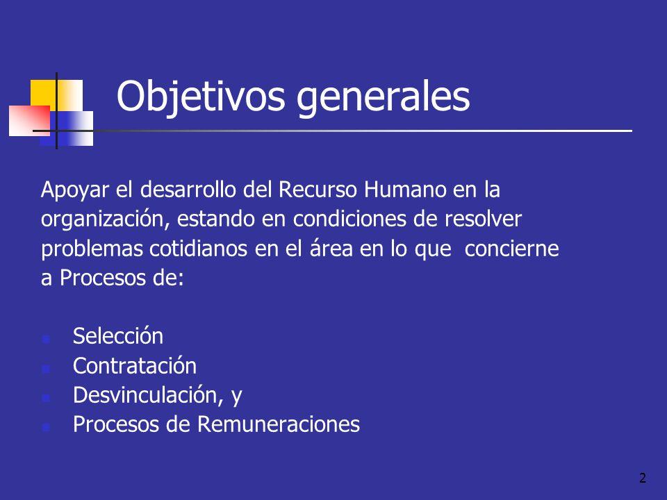 Objetivos generales Apoyar el desarrollo del Recurso Humano en la