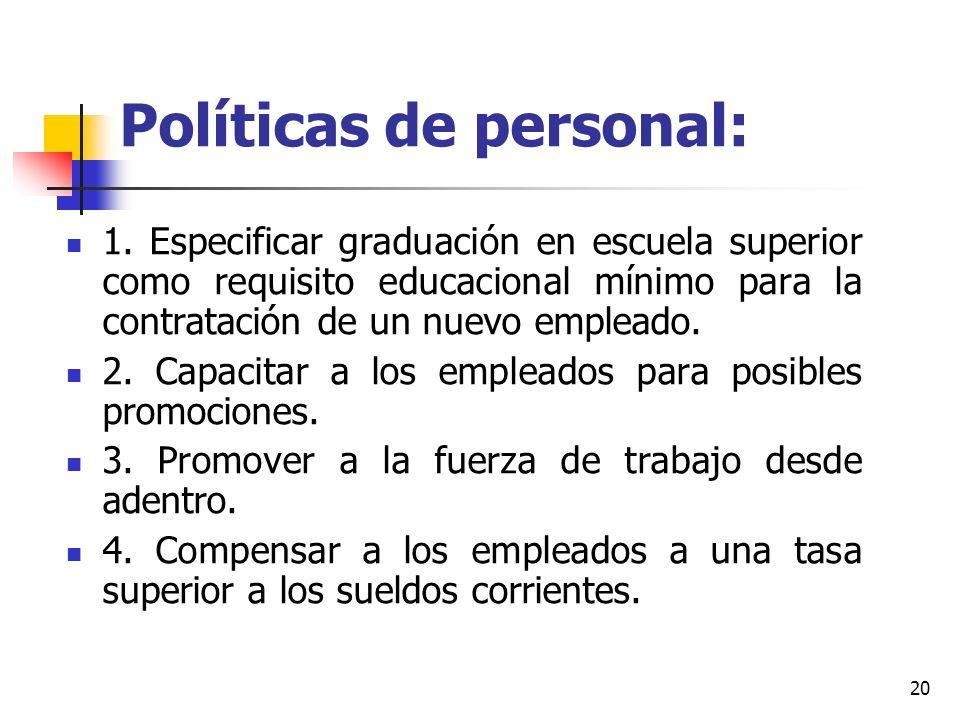 Políticas de personal: