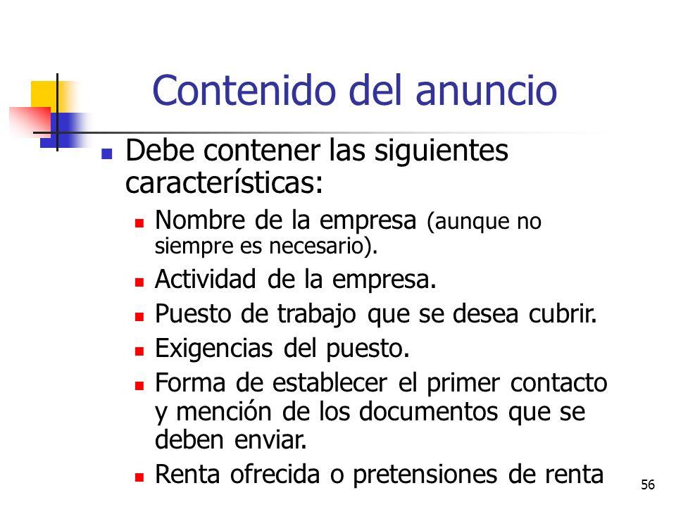 Contenido del anuncio Debe contener las siguientes características: